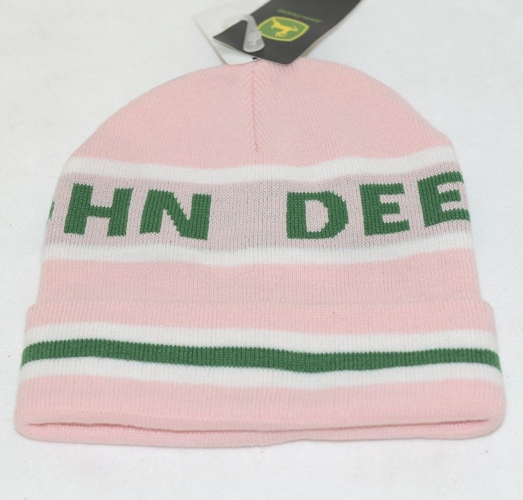 John Deere LP47339 Acrylic Pink Green And White Cuffed Beanie
