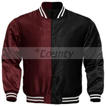 Letterman Baseball College Varsity Bomber Jacket Sports Wear Maroon Blac... - $49.98+