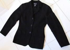 NY & COMPANY Crepe Look Blazer Jacket Coat Poly Black Early 2000's Women... - $29.95