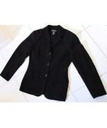 NY & COMPANY Crepe Look Blazer Jacket Coat Poly Black Early 2000's Women... - $29.95