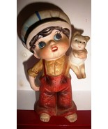 Vintage Ceramic Figurine Boy Child with Cat, Bottom marked 4TW-139 - CUTE - $9.95