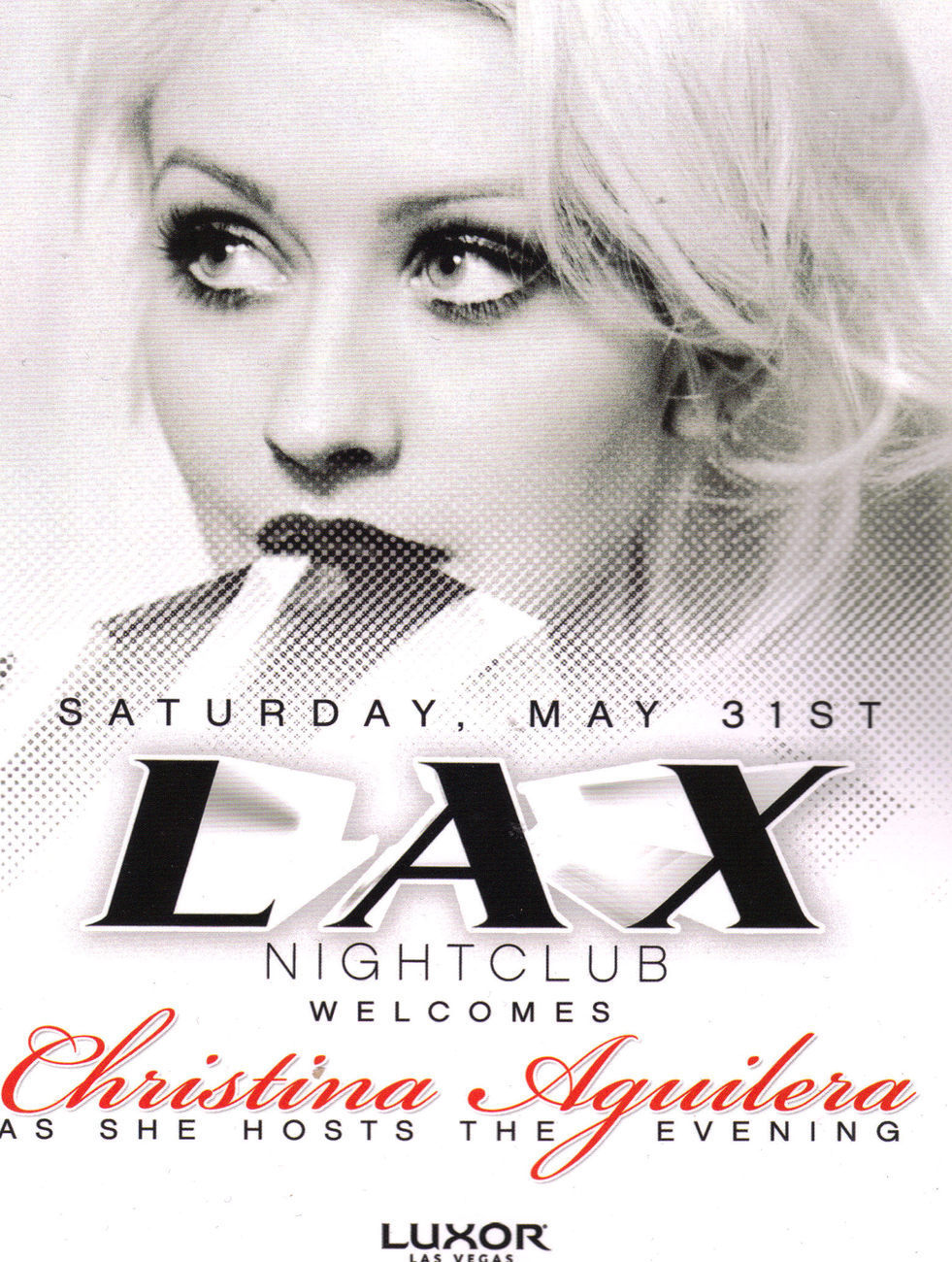 CHRISTINA AGUILERA PROMO CARD, LAX Las Vegas