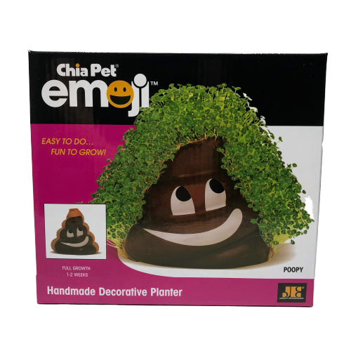 Primary image for Poop Emoji Chia Pet Pottery Planter Growing Kit Poopy Smiling Cute Gag Gift Fun