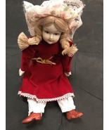 Porcelain Doll 9 Inch Antique Style With Bendable Arms And Legs Red Dress - $8.04