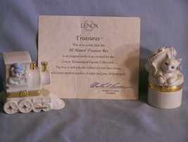 LENOX Treasure Boxes - The Cat's Surprise & All Aboard - w/Charms + Cell... - $29.95