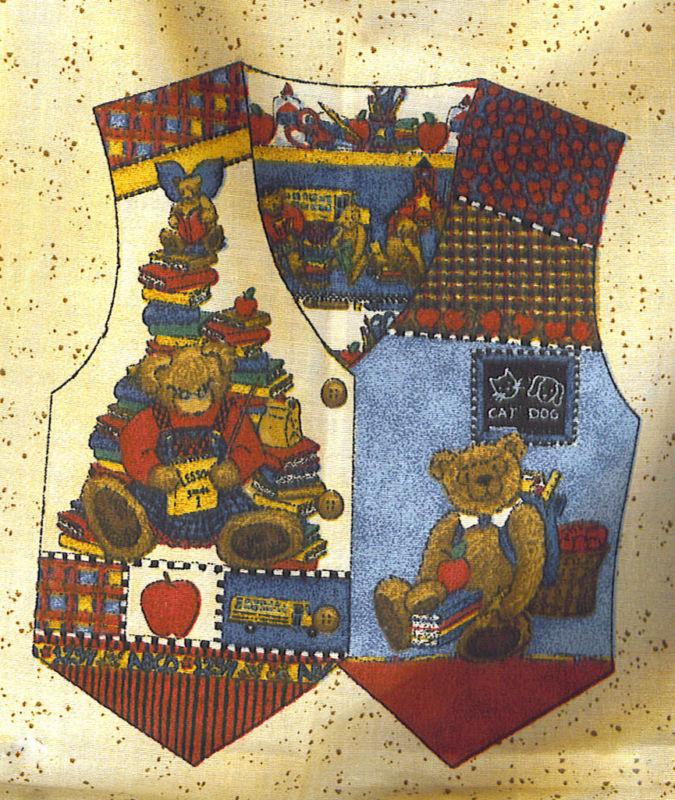 TEDDY BEAR TEACHER'S PET CHILD VEST FABRIC PANEL