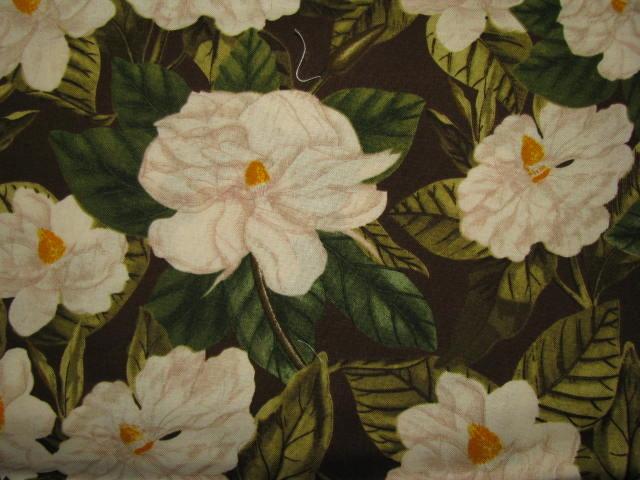 Williamsburg Botanicals White Flowers on Dark Brown Cotton Fabric