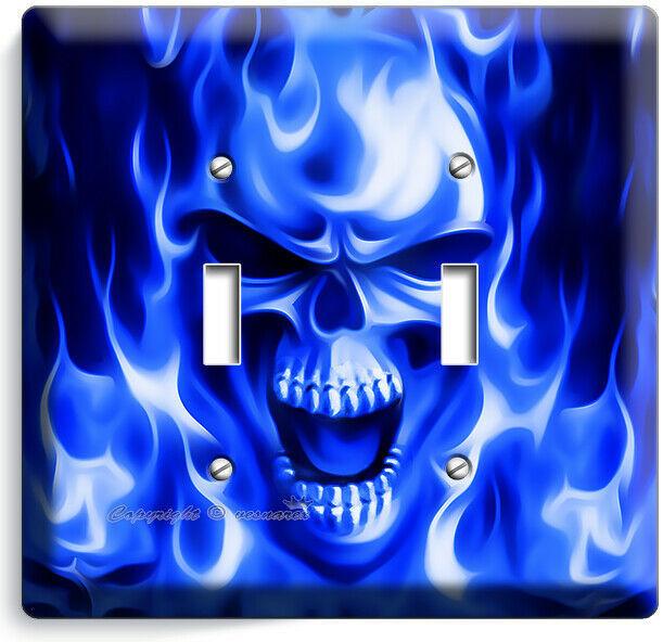 BLUE FLAMES BURNING SKULL 2 GANG LIGHT SWITCH WALL PLATE BIKER MAN CAVE HD DECOR