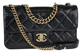 CHANEL Black Quilted Glazed Leather Perfect Edge Small Flap Bag - $3,995.00