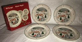 "SANGO SILENT NIGHT HOLIDAY CHRISTMAS 4 DESSERT PLATES 7 1/8"" In Box - $39.59"