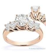 Forever ONE D-E-F Round Cut Moissanite 5-Stone Engagement Ring in 14k Ro... - €846,64 EUR+