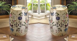 2 Ceramic Stools, Side Tables, Plant Stands Vintage Glazed Finish Butterflies - $174.95