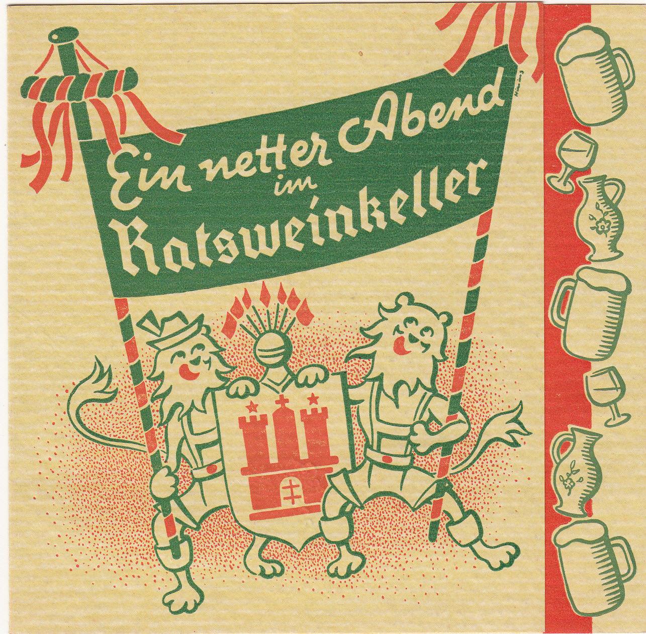 Ein Netter Abend IM Ratsweinkeller Hamburg Menu 1940's