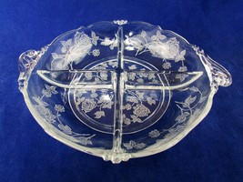 "Heisey Rose Divided Dressing Bowl 9"" Etched - $36.63"