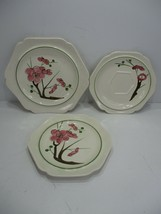3 Vintage Red Wing Hand Painted Dogwood Pattern Plates Luncheon Bread Sa... - $12.99
