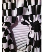 "Window Curtain panels handcrafted Nascar Black White Checkered Flag 43""W... - $69.29"