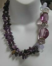 Signed LOFT Polished Purple Amethyst Nugget Chunky Beaded Statement Neck... - $35.00