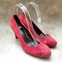 "Ann Taylor LOFT Womens   Sz 8 M Red  Leather Slip On 3.5"" Heels Pumps - $29.99"