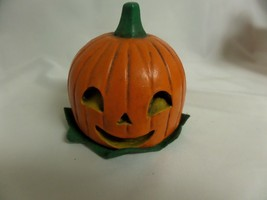 VNTG PUMPKIN DECOR CENTERPIECE JACK O LANTERN HEAVY FALL HARVEST THANKSG... - $23.38