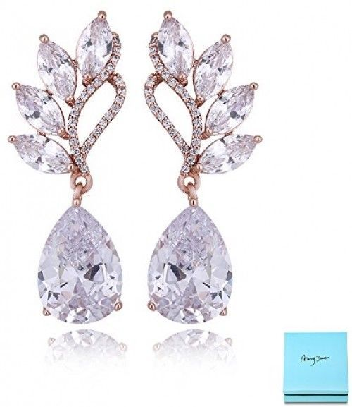 Primary image for Crystal Rose Gold Dangle Earrings - Angel Wing Sterling Silver Teardrop Cubic