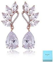 Crystal Rose Gold Dangle Earrings - Angel Wing Sterling Silver Teardrop ... - $37.92