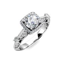 1.5 Carat G-H Diamond Fancy Halo Cushion Engagement Bridal Ring 14K Whit... - $1,907.14
