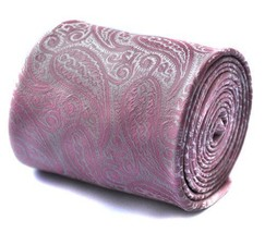 Frederick Thomas Mens Paisley Pattern Premium Tie (Pink Paisley)