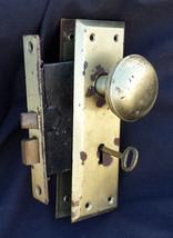 Vintage Craftsman Brass Steel NOS Interior Door Set Lockset Knob Plate L... - $47.49