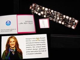 Amy Kahn Bracelet - carved black onyx - Pearl - Hematite - bronze cluster wide b image 7