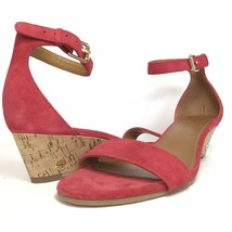 Tory Burch Savannah Red Suede Leather Cork Wedge Sandals Size 9 Ankle Straps NEW - $121.97