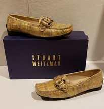 """Stuart Weitzman """"Download"""" Oyster Sioux Croco Leather Driving Loafers $3... - $57.38"""