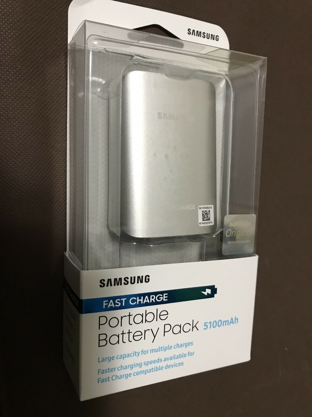 Samsung Fast Charge 5100mAh External Battery Pack Silver- Brand New
