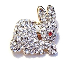 Easter Bunny Rabbit Pin Brooch Clear Austrian Crystal Red Eye Gold Tone Metal - $14.99