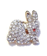 Easter Bunny Rabbit Pin Brooch Clear Austrian Crystal Red Eye Gold Tone ... - $14.99