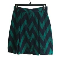 Buttons Women's Blue/Green Fit and Flare Lined Chevron Skirt Zip Closure... - $19.80