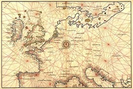 Portolan Map of Spain, England, France, Germany, The British Isles by Battista A - $19.99+