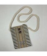 Ocean CIty New Jersey crossbody purse bag burlap tan blue - $19.80