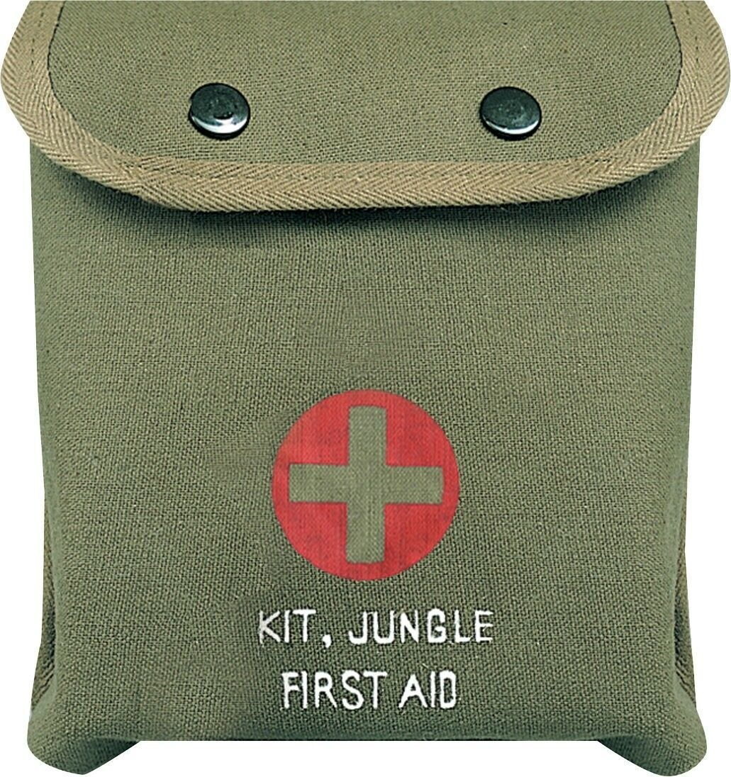 Primary image for Olive Drab M-1 Jungle Military Red Cross Emergency First Aid Kit with Supplies