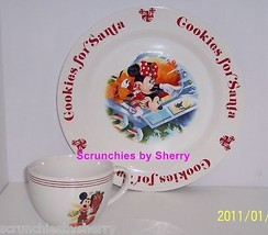 Disney Store Cookies for Santa Plate  Mug Mickey Mouse Pluto Retired New - $99.95