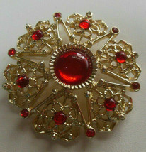 Vintage Signed Sarah Coventry Gold-tone Red Cab Stone Brooch/Pin - $22.76