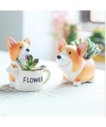 Creative Resin Flowerpot Kawaii Corgi Garden Pots Planters Jardin Bonsai... - $11.99