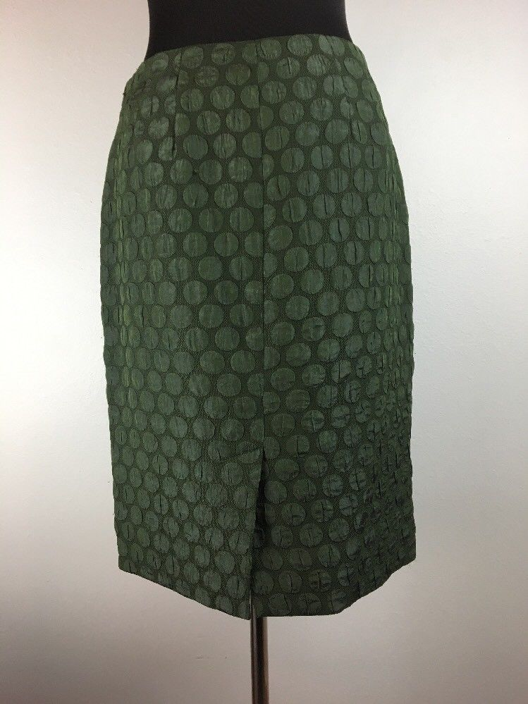 Anthropologie Maeve Goban Pencil Skirt 4 Green Polka Dot Knee Lngth Work Holiday