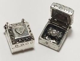 RING IN JEWELRY BOX FINE PEWTER PENDANT CHARM - 8.5x11.5x7mm image 1