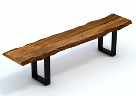 Live Edge Acacia Wood Dining Bench with Black Metal Legs - $1,025.00