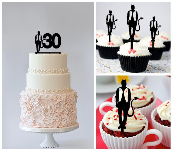 30th Birthday Anniversary Cake TopperCupcake Toppermen Devils 11 Pcs