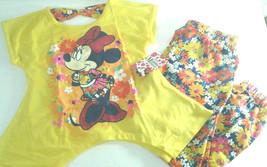 Disney Minnie Mouse  Size XS 4/5 Challis Jogger Set 2 Piece With Glitter Accents - $12.16