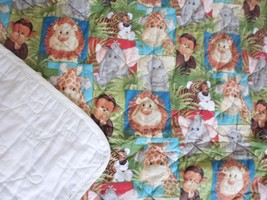 Handmade Crib Baby Quilt-Jungle Animals- Elephant Monkey Lion Tiger,Giraffe - $16.45