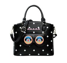 Novelty Eyes Handbag Black Leather Top Handle Bag