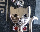 Sterling Silver Kitty Cat Charm Red Crystals Bow Double Jump Ring Brand New 1""