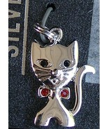 Sterling Silver Kitty Cat Charm Red Crystals Bow Double Jump Ring Brand... - $19.99